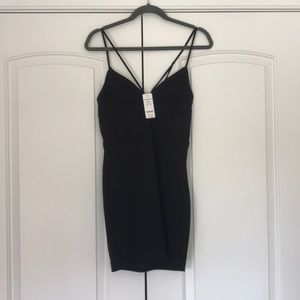NWT Bebe double strap deep V dress